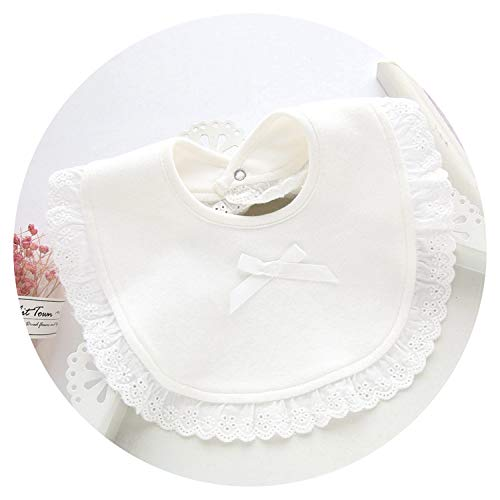 Cotton Lace Bow Pink and White Bibs Baby Girl Lovely Cute Bib Infant Newborn Bowknot Saliva Towel,A,20X26Cm ()