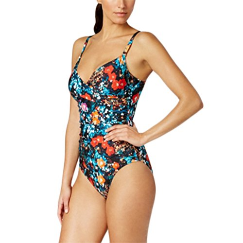 Calvin Klein Exotic Poppy Tummy-Control One-Piece Swimsuit Women's Multi Size 8 by Calvin Klein