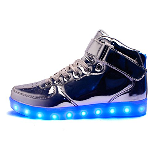 Scarpe Light Up Unisex Dogeek Amazon Per Adulto 7 Colori Scarpe Led High Top Lampeggianti Usb Lampeggianti 2 Argento