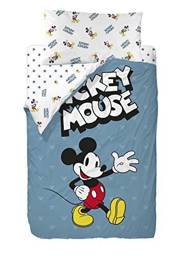 Disney Mickey 90 s Blue Saco Nordico de 2 Piezas para Cama de 90, Cotton, Multic