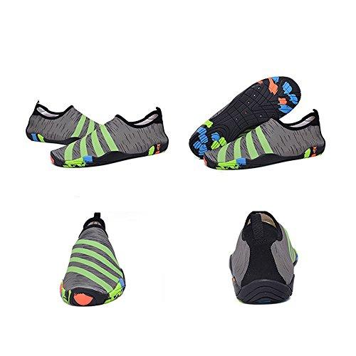 Blankey Scarpe Da Sport Acquatici Quick-dry Scarpe Da Spiaggia A Piedi Nudi Flessibili Da Spiaggia Per Uomo Donna Bambini Grigio E Verde