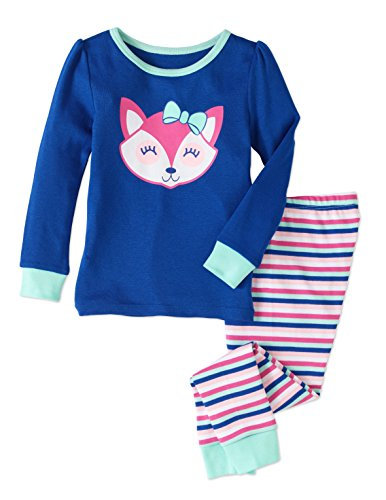 Baby and Toddler Girls Snug Fit Graphic Pajama Long Sleeve Shirt and Pants Two-Piece Set (2T, Blue Fox)