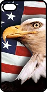 taoyix diy American Flag & Bald Eagle Let Freedom Ring Black Plastic Case for Apple iPhone 5 or iPhone 5s