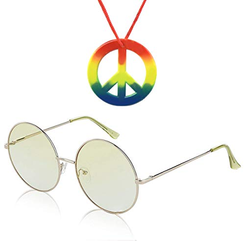 Super Oversized Round Sunglasses Hippie Retro Tinted Lens Circle Glasses UV400 (yellow + Hippie peace sign necklace)
