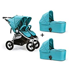 The Bumbleride Indie Twin Stroller with Bassinets lets you get everything you need to get out and do what you love with your children. The included matching bassinets let you use the stroller from birth with two seats, two bassinets, or a bas...