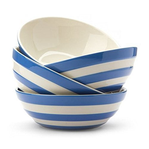Cornishware Blue and White Stripe Set of 4 Cereal Bowls Dishes