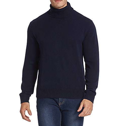 CHAUDER Men's Merino Wool Blend Relax Fit Turtle Neck Sweater Pullover (L, Navy Blue) (Thick Sweater Wool)