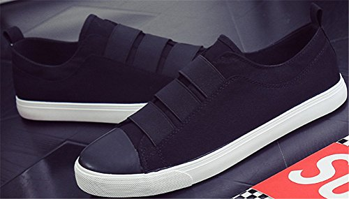 Flat Casual Shoes Loafers Black Soft Fashion Canvas Sneakers Athletic For Pull SATUKI Men On Lightweight Shoes FwSq8xf1v
