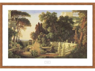 Poster Palooza Framed Italian Villa- 32x24 Inches - Art Print (Honey Pecan Frame)