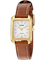 Citizen Womens Silhouette Quartz Stainless Steel and Leather Casual Watch, Color:Brown (Model: EM0492-02A)
