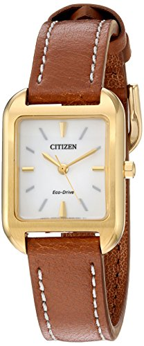 Citizen Women's 'Silhouette' Quartz Stainless Steel and Leather Casual Watch, Color:Brown (Model: EM0492-02A)