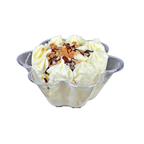 Healthcom 50x Plastic Ice Cream Dessert Bowls Clear Dessert Cups Flower Ice Cream Cup Ice Cream Sundae Bowl