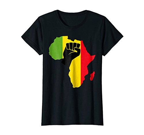 Womens Africa Black Power Africa Map Raised Fist African T-Shirt Small Black (T-shirt Map Africa)