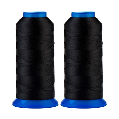 Selric [3000 Yards / 30 Colors Available] Pack of 2 UV Resistant High Strength Polyester Thread #69 T70 Size 210D/3 for Upholstery, Outdoor Market, Drapery, Beading, Purses, Leather (Black)