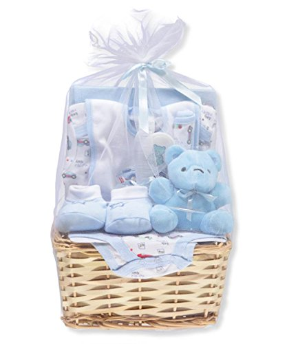 Big Oshi Baby Boys' 9-Piece Gift Set - Blue, 0-6 Months (Gift Baskets Infant Boy)