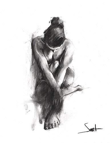 Nude Art Print, Naked Girl, Figurative Art, Figure Drawing, Charcoal Drawing, Erotic Art
