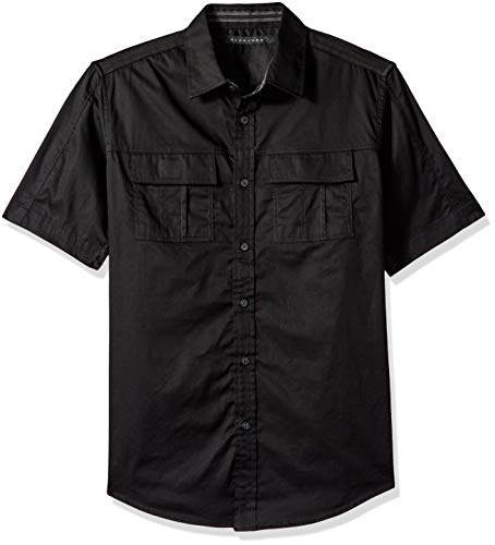 Sean John Men's Short Sleeve Solid Button Down Shirt, pm Black XL from Sean John