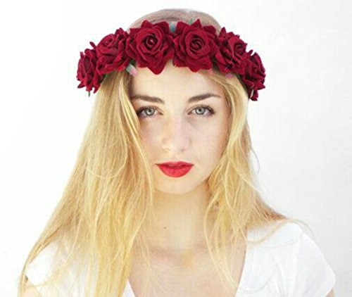 Floral Fall Rose Red Rose Flower Crown Woodland Hair Wreath Festival Headband F-67