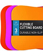 Zulay Extra Thick Flexible Cutting Board Mats for Kitchen - New Textured Bottom Grip Prevents Slipping on Most Countertops - Colored Plastic Cutting Boards For Kitchen (Red, Yellow, Lime Green)