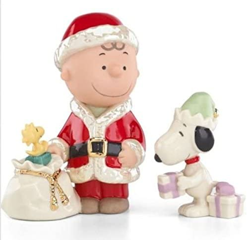 Lenox Fine Porcelain China Charlie Brown s Christmas Delivery Snoopy 2pc Figurine Set – 3.75