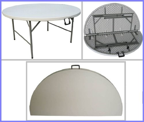 FT-1, 5FT Round Folding Table, Fold-in-Half. A substantial round table that comfortably sits 8 people. by Folding Tables ()