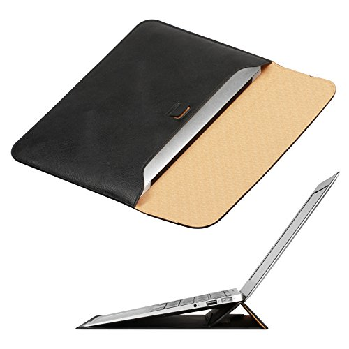 Macbook Air 13 inch Case Sleeve with Stand, OMOTON Wallet Sleeve Case for Macbook Air 13 inch, Ultrathin Carrying Bag with Stand, Black (Black Carrying Case Leather)