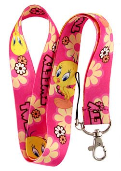 Tweety Bird Pink Keychain Lanyard (Tweety Bird Key Ring)