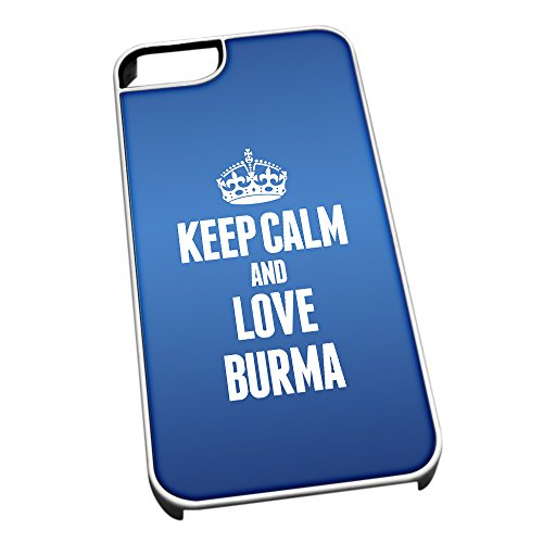 Bianco cover per iPhone 5/5S, blu 2166 Keep Calm and Love Birmania