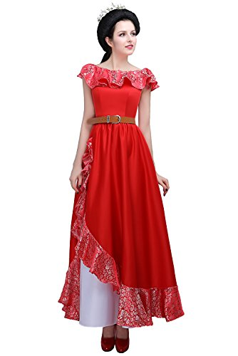 Gown Aurora Prom (Angelaicos Women's Lace Layered Long Red Dress Costume (S))