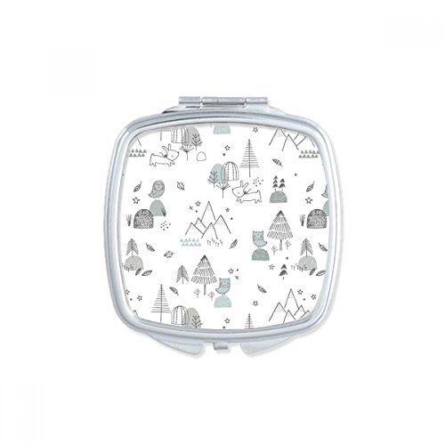 Cartoon Bird Puppy Mountain Star Grass Tree Line Stroke Lovely Nordic Illustration Pattern Square Compact Makeup Pocket Mirror Portable Cute Small Hand Mirrors (Treeline Mirror)