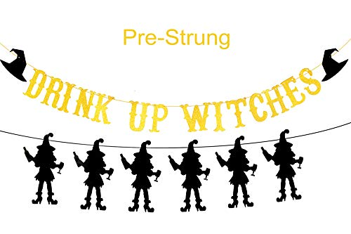 Gold Glittery Drink Up Witches Banner with Six Witches Shape Banner for Halloween Party Hanging Table/Backdrop/Photo Prop Decorations