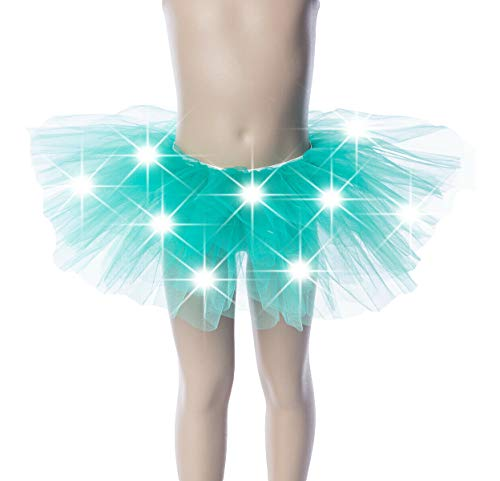 WPNAKS Girls Light Up LED Tutu Mini Skirt Elastic Dress Costume Party Dance for Kids (Green) -