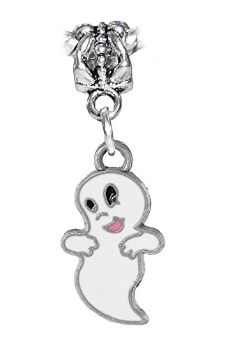 Friendly Ghost White Enamel Halloween Dangle Charm for European Bracelets]()