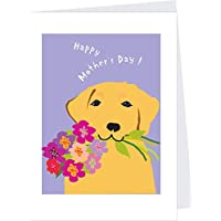 Happy Mothers Day greeting card yellow lab with flower bouquet