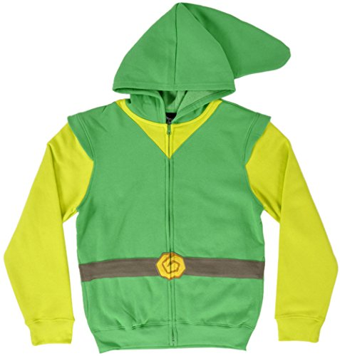 Link Legends Of Zelda Costume (Legend of Zelda Link Jacket Costume Zip-Up Hoody Green)