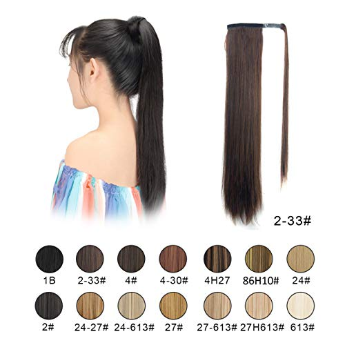 BARSDAR 26 inch Ponytail Extension Long Straight Wrap Around Clip in Synthetic Fiber Hair for Women (2/33# Darkest Brown mix Dark Auburn Evenly) -
