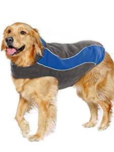"Kakadu Pet Explorer Double Fleece Dog Coat with Reflective Stripe, 14"", Sea (Blue)"