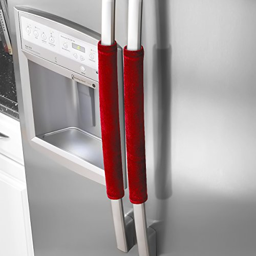 OUGAR8 Refrigerator Door Handle Covers,Keep Your Kitchen Appliance Clean From Smudges, Fingertips, Drips, Food Stains, Perfect For Dishwashers (Red) ()