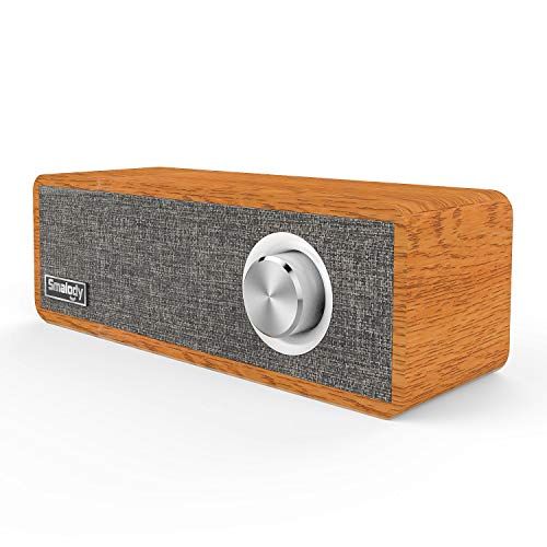 (Wood Bluetooth Speaker, Smalody Portable Mini Wireless 5.0 Bluetooth Speakers with Speaker 2.1 HD Stereo Sound and Rich Bass Perfect for Home Party and Office (Gray))