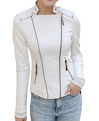 White Leather Biker Jacket - 6