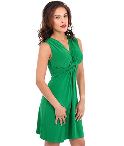 Deep V-Neck Crossover Knot Front Dress Wrap Mini Skater Shift (9354-JAD-12),Size-US:8,UK-12 - Cleavage Mini