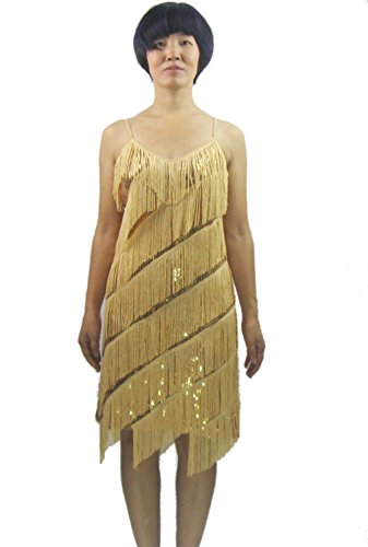 Paillette fringe 1920s 20s slip salsa dance costume dress pattern for girl , Gold, (Childrens Dance Costumes Patterns)
