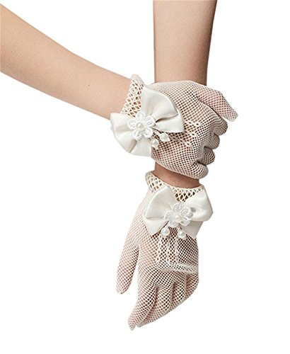 ESEE Flower Girl Gloves Lace Bowknot Princess Gloves for Wedding and Special Occasion