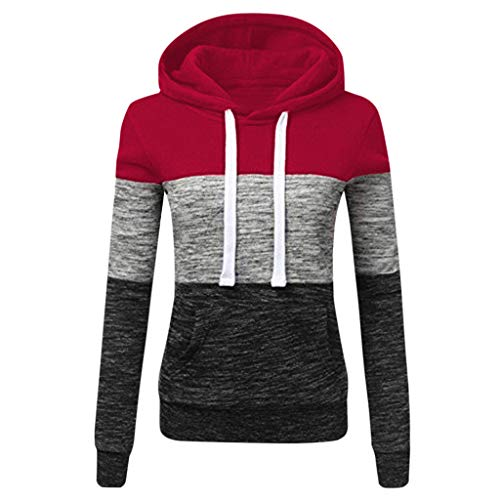 iLUGU Fashion Womens Casual Hoodies Sweatshirt Patchwork Ladies Hooded Blouse Pullover Wine (Dog Tuxedo Sweater)