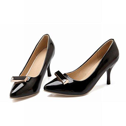 MissSaSa Damen mode spitze Pumps elegant und simpel lackleder Schuhe Schwarz