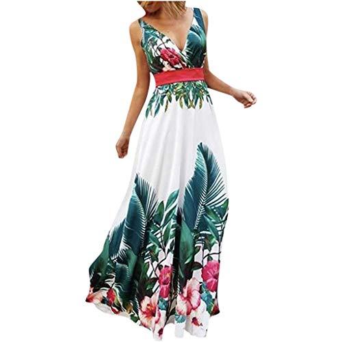 (Toimothcn Womens Ball Gowns Sleeveless Deep V-Neck Floral Print Boho Sundress Maxi Prom Dress(Green,L) )