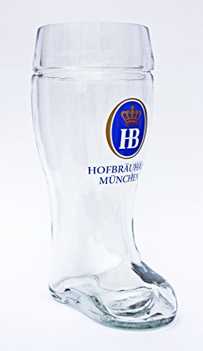 GermanSteins Hofbrauhaus Munchen Munich German Stolzle Glass Beer Boot 1 Liter