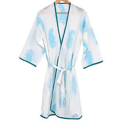 Long HandBlock printed cotton Bathrobe Kimono style