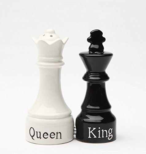 Queen and King Chess Magnetic Ceramic Salt and Pepper Shakers PTC COMINHKPR29638
