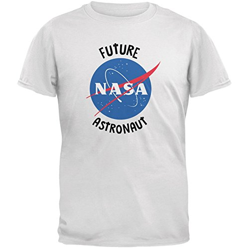 Future NASA Space Astronaut White Youth T-Shirt - Youth Medium (Astronaut Mask)